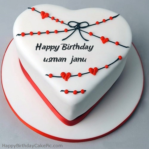 Red White Heart Happy Birthday Cake For Usman Janu