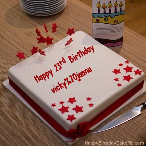 Red 23rd Happy Birthday Cake For vicky jaanu