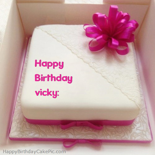 Birthday Cake Images With Name Vicky : Pink Happy Birthday Cake For vicky: