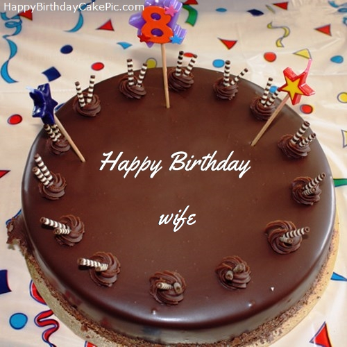 8th Chocolate Happy Birthday Cake For wife