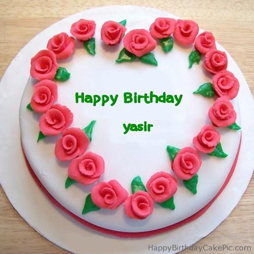Roses Heart Birthday Cake For Yasir