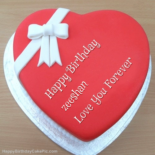 Pink Heart Happy Birthday Cake For zeeshan